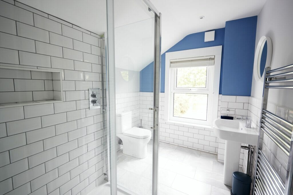 Domestic bathroom, seen from shower cubicle